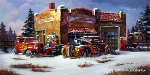 Dale Klee Hot Rod Car Picture FROZEN FLAMES