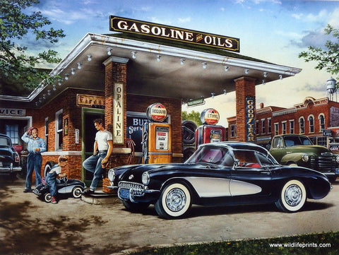 Dan Hatala Classic Car Corvette Picture FULL SERVICE Old Gas Station
