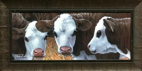 Jerry Gadamus Little Dogies Beef Cow S/N Art Print-Framed