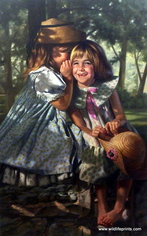 Bob Byerley Children's Print Little Girls Sharing Secrets