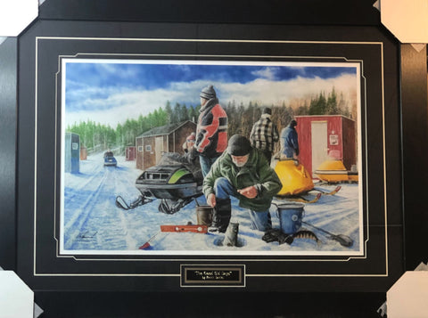 Kevin Daniel Good Old Days Fishing Snowmobile S/N Art Print-Framed