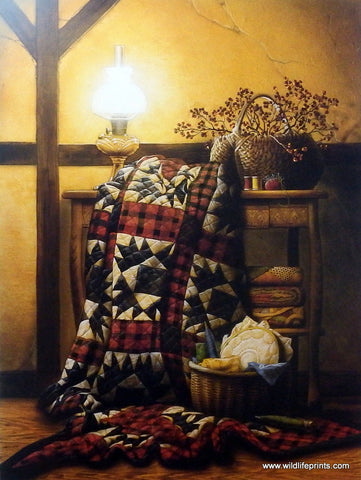 Doug Knutson Art Print Grandma's Quilt Old Sewing Scene