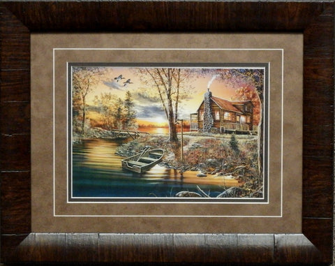 Jim Hansel As Night Falls Cabin Art Print-Framed