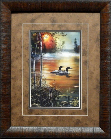 Jim Hansel Family Outing Loon Art Print-Framed