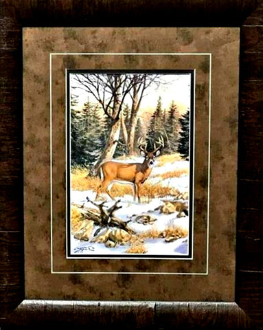 Derk Hansen On the Edge of the Woods Deer Art Print-Framed 17 x 21