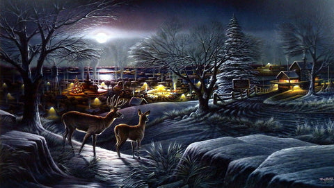 Terry Redlin Christmas Holiday Print HOMETOWN-WHITETAIL DEER