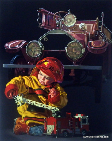 Bob Byerley Children's Print HOOK AND LADDER Fireman Print