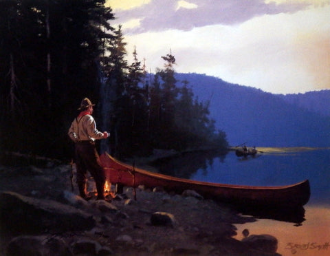 Brett Smith Vintage Mountain Camping Canoeing Print