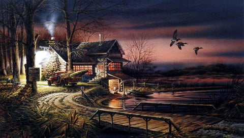 "Terry Redlin Hunter's Haven - 18""x10.5"" Open Edition"