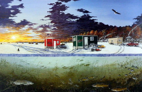 Donald Blakney Ice Fishing Print Ice Castles Mille Lacs Lake