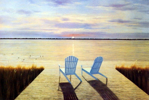 Diane Romanello Beach Art Print with Adirondack Chairs