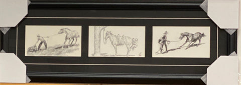 Will James Rough Ride Ahead Pencil Sketch Western Trilogy Art Print-Framed 28 x 10