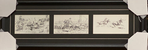 Will James The Wranglers Pencil Sketch Western Art Print-Framed 28 x 10