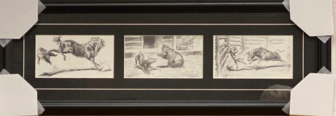Will James Who Win's Pencil Sketch Western Trilogy Art Print-Framed 28 x 10