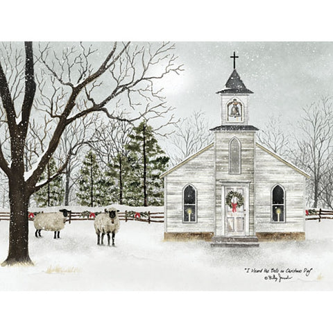 Billy Jacobs I heard the bells on Christmas Day Church and Sheep Art Print