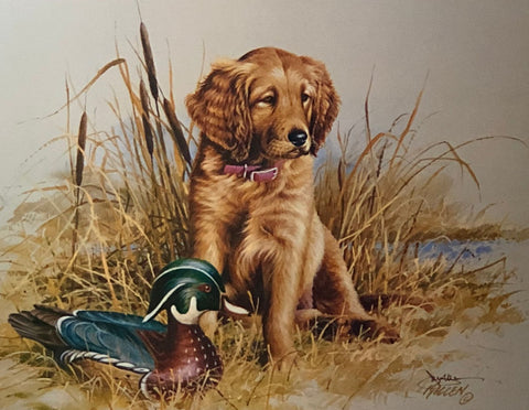 James Killen Great Beginnings Golden Retriever Decoy Art Print-Signed