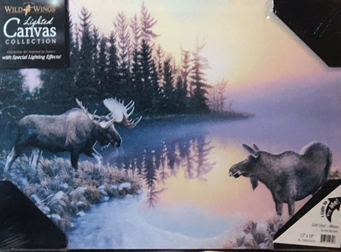 Jim Kasper Cold Start Moose at Daybreak Lighted Wrapped Canvas Art Print