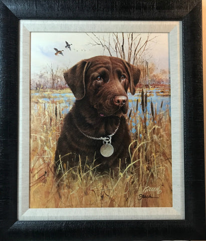 James Killen Chocolate Lab Hunting Dog Canvas-Framed