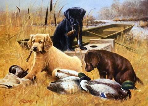 James Killen Marsh Buddies Duck Hunting Puppies Print