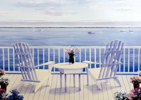 Diane Romanello Seascape Print with Adirondack Chairs