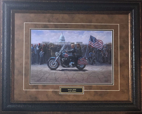 Jon McNaughton MAGA ride Motorcycle Art Print-Framed