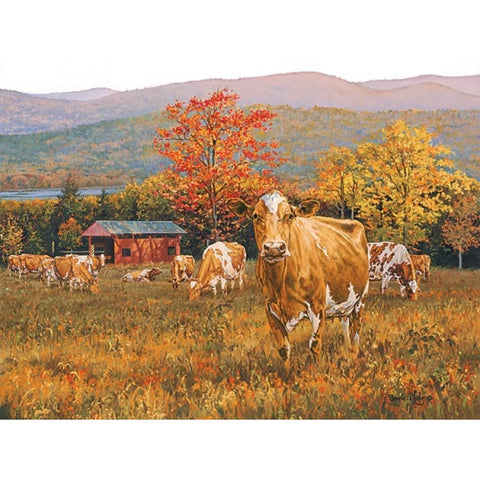 Bonnie Mohr Autumn's Gold Cow and Farm Art Print