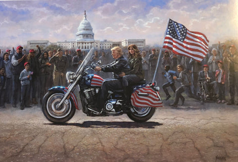 Jon McNaugton Maga Ride Donald Trump Art Print Signed 24 x 16