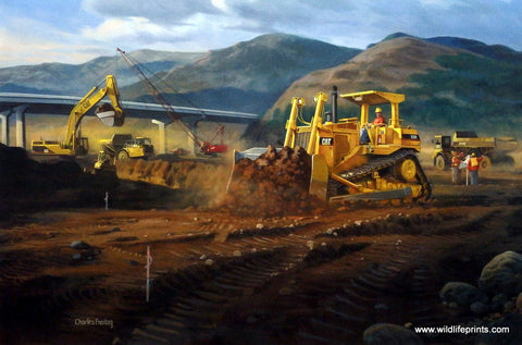Charles Freitag Picture of Caterpillar bull dozer and steam shovels