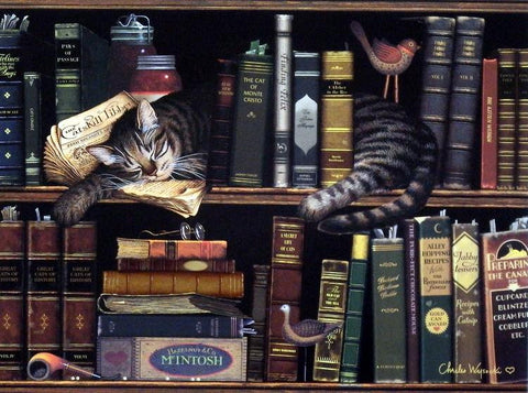 Charles Wysocki Cat Library Picture