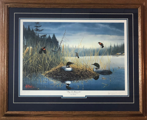 Les Kouba May in Minnesota Loon S/N Art Print-Framed
