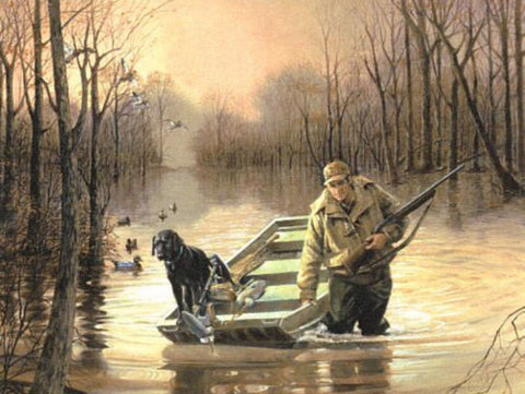 R.J.McDonald Slippin In Duck Hunting Black Lab Print