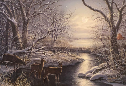 James Meger Silent Night Deer Creek S/N Art Print 24 x 16