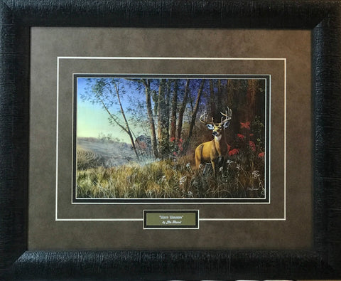 Jim Hansel Misty Morning Bow Deer Hunting Art Print-Framed