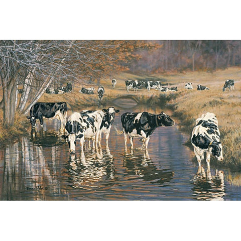 Bonnie Mohr Fall Reflections Cow and Farm Art Print
