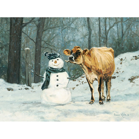 Bonnie Mohr Well Hello There Cow Snowman Art Print