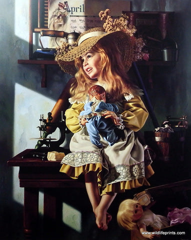 Bob Byerley Children's Print Girl Playing House