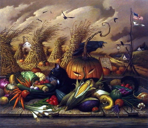 Charles Wysocki Picture Black Cat at Halloween