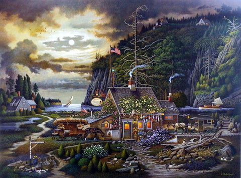 Charles Wysocki Picture of Old Restaurant in Maine