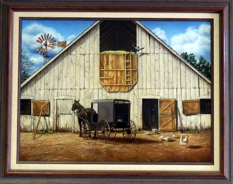 Doug Knutson Original Painting Amish Theme Art MORNING CHORES