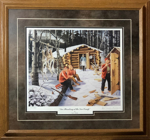 Les Kouba New Plumbing in Deer Camp Hunting Print-Framed