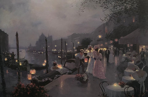 Christa Kieffer Night Festival in Venice Signed Art Print