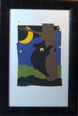 North Woods Bear Lake Moon Stars Art Print