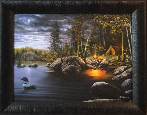 JIm Hansel Northern Solitude Loon Camping Art Print-Framed