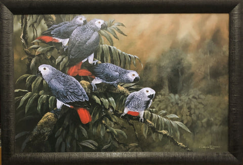 Gamini Ratnavira Painting the Town Red Parrot Art Print-Framed