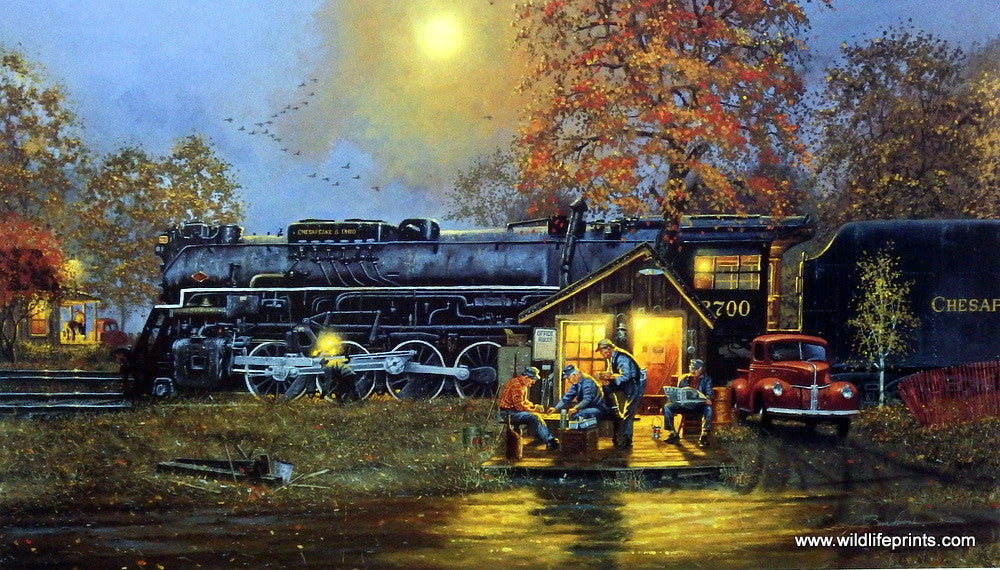 Artist Dave Barnhouse Unframed Steam Engine Train Print