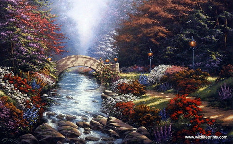Landscape floral art print with stone bridge