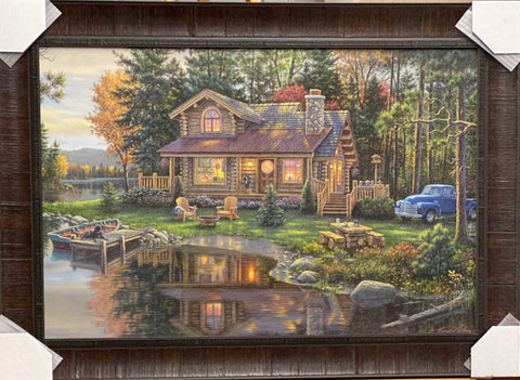 Kim Norlien Peace Like a River Cabin Lake Art Print-Framed 36 x 25.5