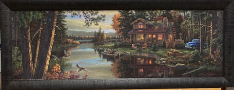 Kim Norlien Peace Like a River Cabin Lake Art Print-Framed  39 x  15