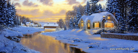 Winter snow covered cottage