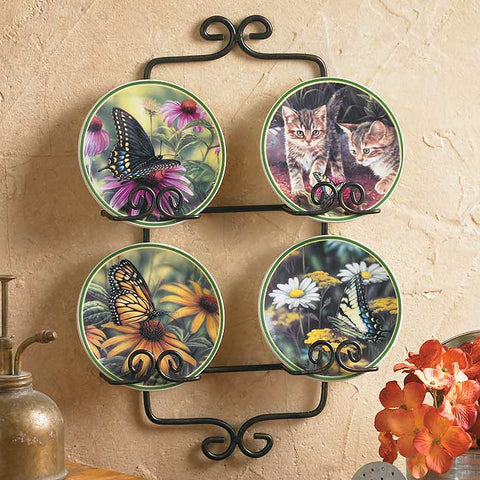 Rosemary Millette Garden Visitors Set of 4 Mini Plates